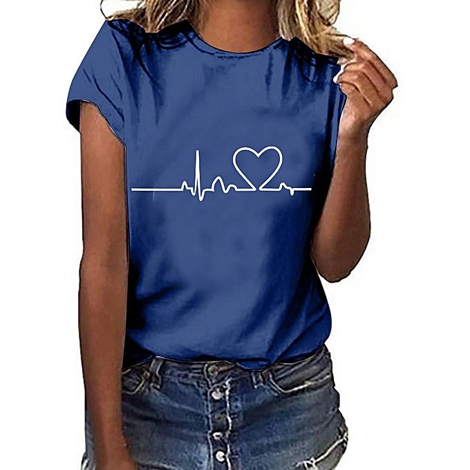 bba505c87 Fashion paidndh store Women Girls Plus Size Heart Print Short Sleeved T-shirt  Blouse Tops-Navy