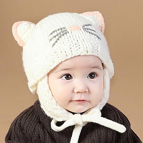 Generic jiuhap store Toddler Baby Boys Girls Earflaps Children Knitting Winter  Warm Ball Hats Cap WH-White 3e3de1bf7370