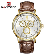 NF3002 Leather Watch Brand Quartz Watches Independent Hour Date Day Window Luminous Business Casual Wrist Watch