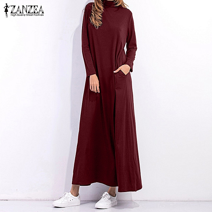 459c5a809f98 ZANZEA Women Long Sleeve High Neck Loose Plain Long Shift Dress Kaftan