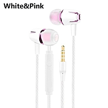 Wired Earphone Electroplating Bass Stereo In-ear Headphone for Android iOS rose gold