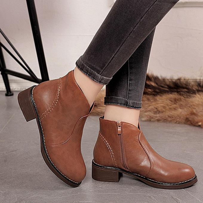 e4cfa46e7d3 Women Boots Female Ankle Boots Round Toe Platform Winter Women Fashion Boots-Brown  36-