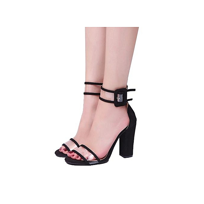 5c9f84f43e66 Bliccol High Heel Shoes Womens Ladies Block High Heel Sandals Ankle  Platforms Shoes Buckle High Heels