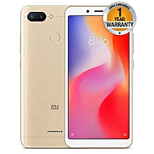"Redmi 6 - 5.45"" 4G - 64GB + 3GB RAM  Fingerprint Sensor - 12+5 MP rear back Camera - Dual Sim - Gold"