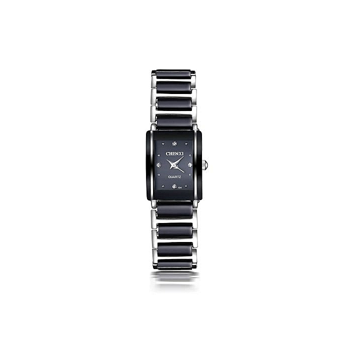 Fashion Waterproof Women's Watch Quartz Wrist Watches With Ceramic Watchband Diamonds Decoration-Black - Black