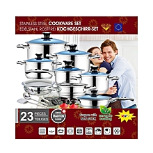 23 Piece Heavy Stainless Steel Cookware Set  - Silver