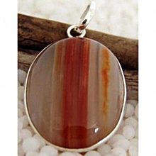 Coffee Agate with Brown and Orange Stripes Semi Precious Gemstone in 925' Sterling Silver Pendant