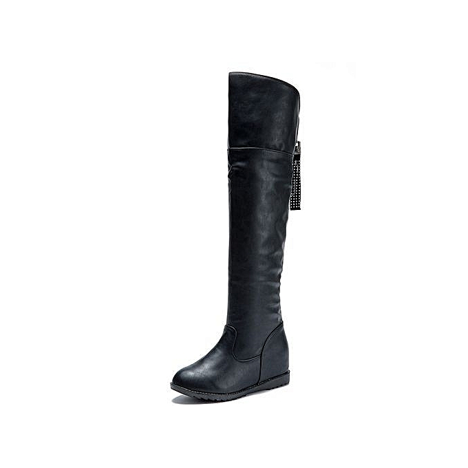 b1528ec7c02 bluerdream-Winter Womens Thigh High Boots Over The Knee Boot Increased Flat  Heels Shoes-