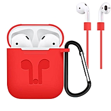 Headphone Silicone Protective Case Cover for Airpod Earphone Accessories Style:Protective shell + anti-lost rope + hook
