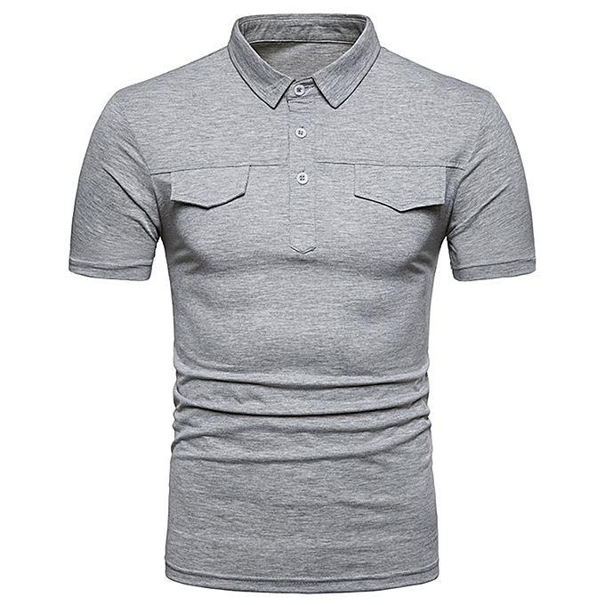 ccceaf4fc OEM Men Casual Summer Solid Turn-down Collar Short Sleeve T-Shirt Tops  Blouse
