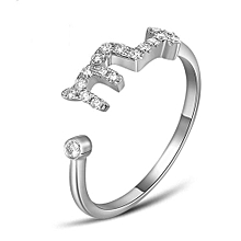 Personalized White/Rose  Zodiac 925 Sterling Silver Open Size Adjustable Ring Color Rose Gold Plated