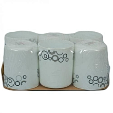 6 Piece Mug Set - White with Black Circles.