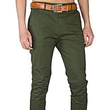 Soft Khaki Men's Trouser Stretch Slim Fit Casual-Green