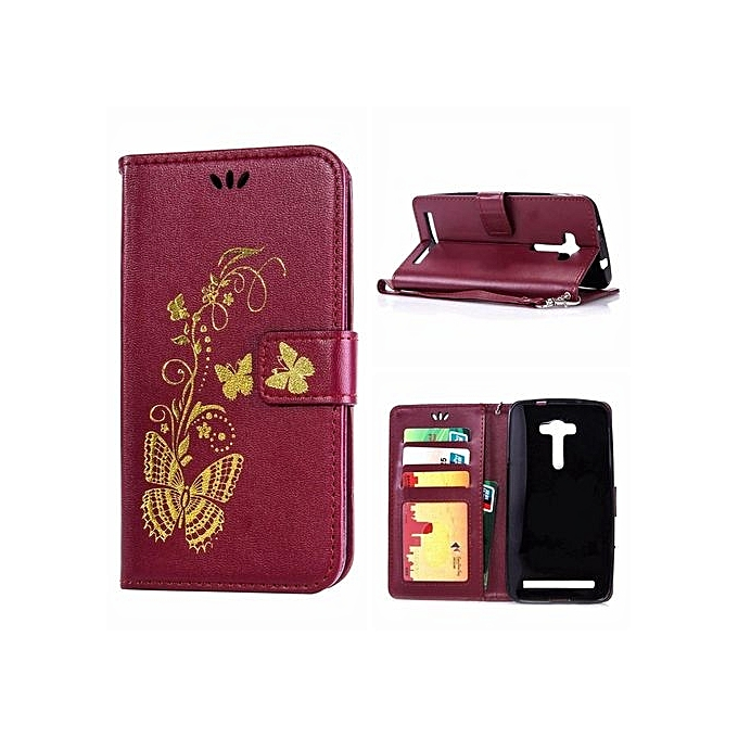 """quality design f158a ca780 Leather Case For Asus ZenFone 2 Laser ZE550KL/ZE551KL 5.5"""" Bronzing  Butterfly Flip Wallet Stand Cover With Photo Frame Gold (Color:c6)"""