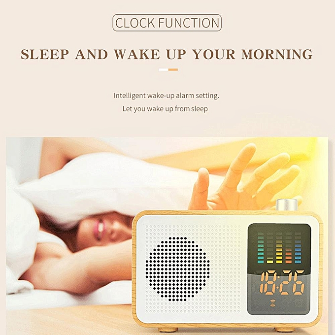 M20 Wireless Bluetooth Speaker Portable Wooden LED Sound Box Stereo Sound  Subwoofer Clock w/ Display Screen Colorful Dynamic Spectrum Support TF AUX