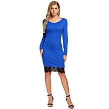 Women Slim Fit Long Sleeve Lace-Trim Bodycon Pencil Party Dress ( Blue )