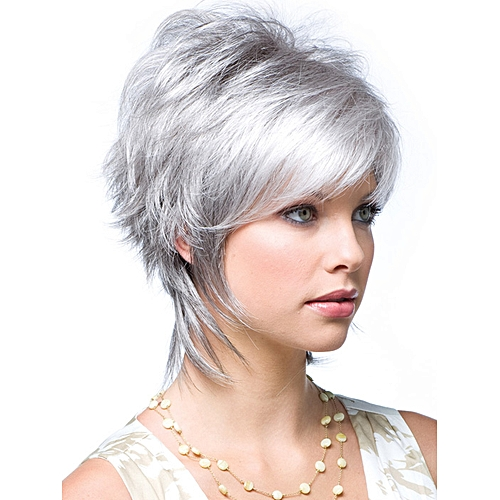 Generic Short Silver Hair Natural Curly Wig With Bangs Synthetic Wig For  Women ce33d152ea