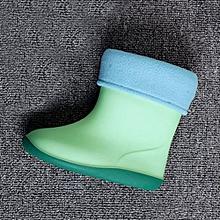 Waterproof Child Soild Rubber Warm Infant Baby Rain Boots Kids Rain Shoes- Green