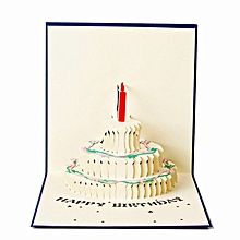 Birthday card 3D three dimensional children's blue,red