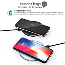 Portable Ultra-thin Round Shape Qi Wireless Charger Charging Pad Universal Phone Charge Base Safe Quick Charge for Samsung Galaxy S8/S8+/S7/S7 Edge/S6 Edge+/Note 5/Note 7/Note 8 or for iPhone X/8/8 Plus and Other Qi-enabled Smartphones