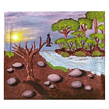 Landscape wall painting- 38cm×34.5cms- multicoloured
