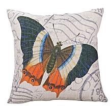 Unisex Butterflies Square Linen Pillow - White
