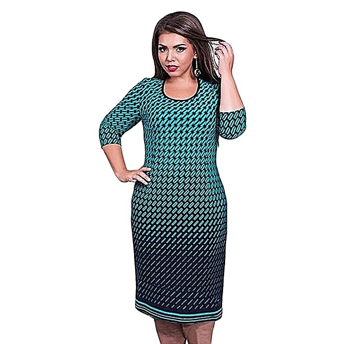 L-6XL Plus Size Women Clothing Elegant Office Work Dress Women Spring O  Neck Large Size Dresses Oversize Casual Midi Dress-blue