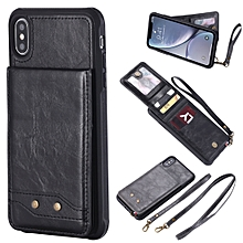 Vertical Flip Fashion Shockproof Leather Case for iPhone XS Max, with Holder & Photo Frame & Card Slots & Lanyard (Black)