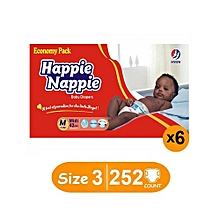Economy Pack - Medium : Size 3 (5-10Kgs) - (x6) Count 252 diapers