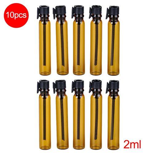 Perfume Refill Kenya: Liplasting 10Pcs Portable Refillable 2ml Empty Brown Glass Perfume Bottle With Black Cap