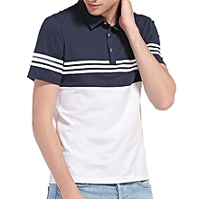 Summer Leisure Cotton Turn-down Collar Stripe Tops Large Size Comfy Loose T-shirts for Men