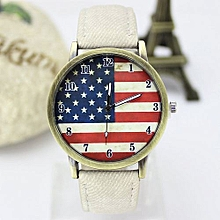 High-grade  American Flag Pattern Leather Band Analog Quartz Vogue Wrist Watches