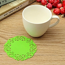 Green New Hot Beautiful Silicone Coasters Random 6 Pack Color Round Drink Coasters Lace Stain Resistant Placemat