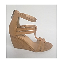 Brown Strappy Back Zip Stylish Wedges