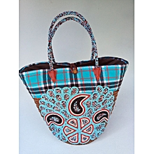 African Handbags,African bags blue stripes