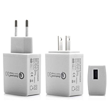 18W Quick Charging QC3.0 Travel Home AC Wall Single Port USB Charger US Plug For Smart Phone Tablet PC White