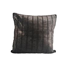 Velvet Cushion - Medium - Black with Stripes