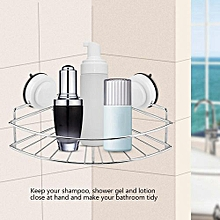 Durable Strong Suction Wall Mounted Shower Corner Basket Storage Shelf Drill Free For Home Bathroom