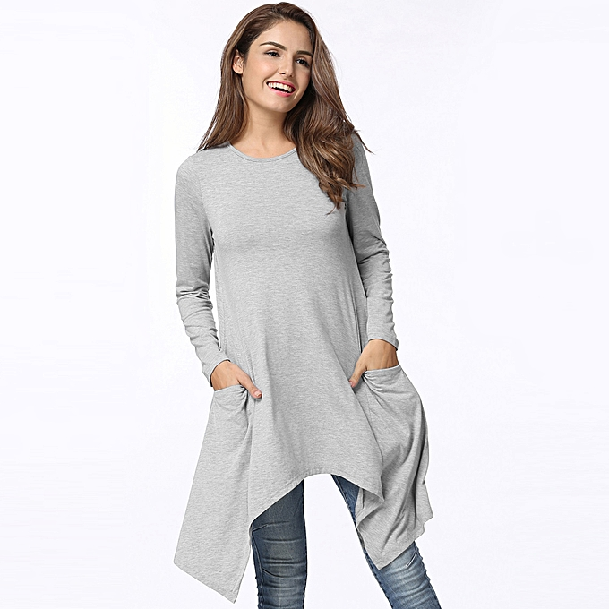 9509676f7551 Autumn Women Summer Dress O-Neck Long Sleeves Solid Loose Asymmetrical  Flowy Swing Casual T