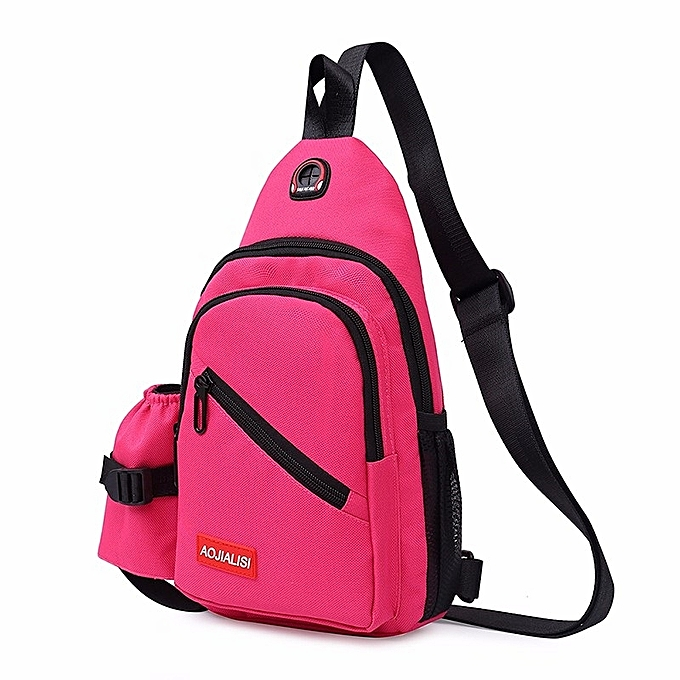 f3d1537ecee Multi-Function Portable Casual Chest Bag Outdoor Sports Shoulder Bag (Rose  Red)