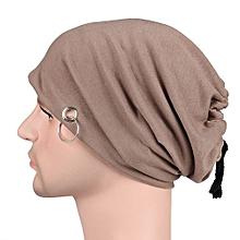 Fashion Adult Men Lacing Beanie Autumn Bonnet Skull Cap With Ring Unisex Hip Hop Hat Color:Khaki