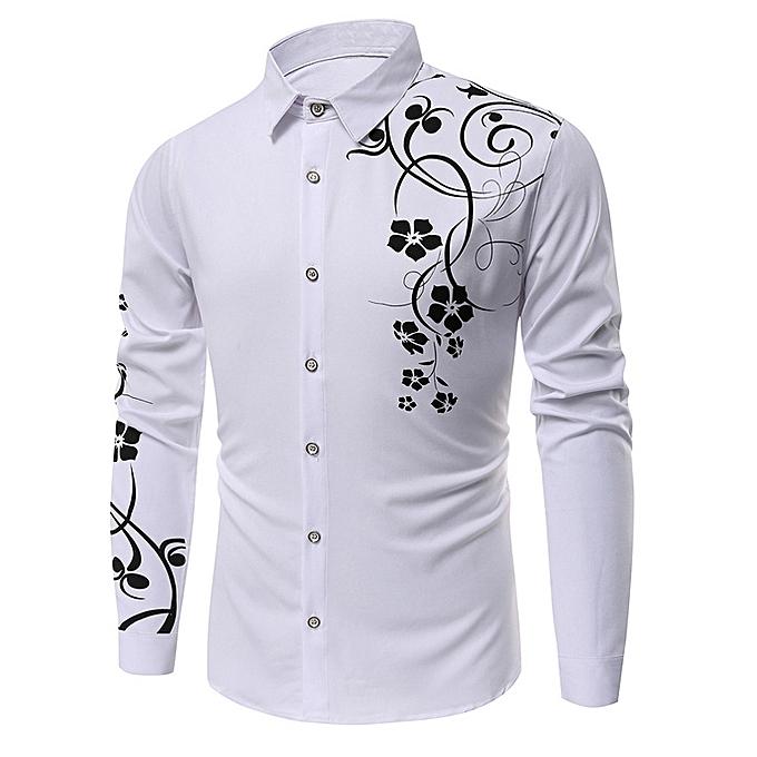 78038b571d2936 Fashion Floral Printed Long Sleeves Shirt - WHITE - WHITE - L @ Best ...