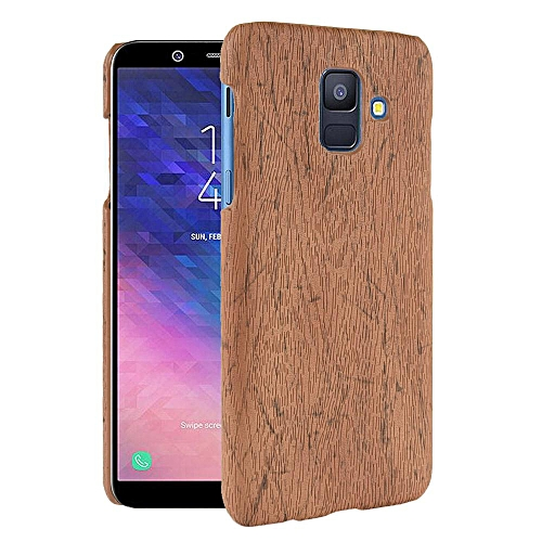 Galaxy A6 2018 Case, [wood Texture] PU Leather + Hard PC Protective Case  Cover for Samsung Galaxy A6 2018