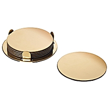 Coasters with holder Brass-colour 8.5cm