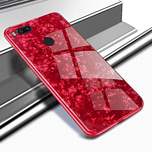 newest collection 65e2d 17d77 For Xiaomi A1 Luxury Hard Tempered Glass Case Marble Shell Pattern Design  Glass Back Cover For Xiaomi Mi A1 Housing 338452 (Red)