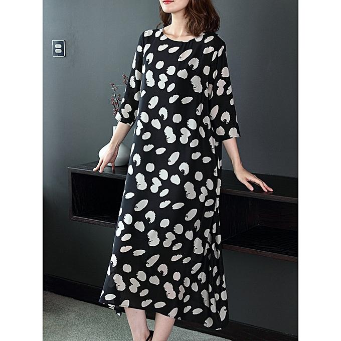 80c5cc62fa6 Fashion Summer Women Loose O-Neck Polka Dot 3 4 Sleeve Dress   Best ...