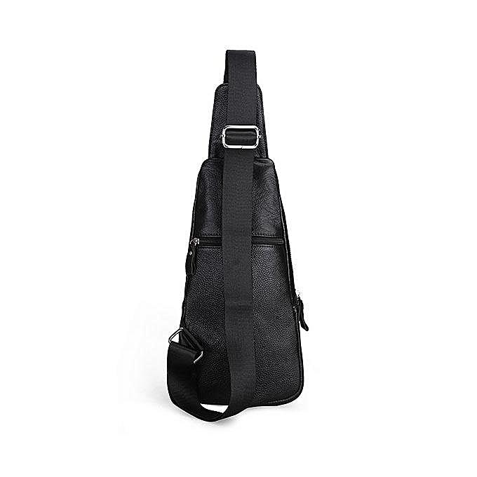 d21709569e2e Men Genuine Leather Fashion Casual Chest Pack Daypack Sling Bag Shoulder Bag