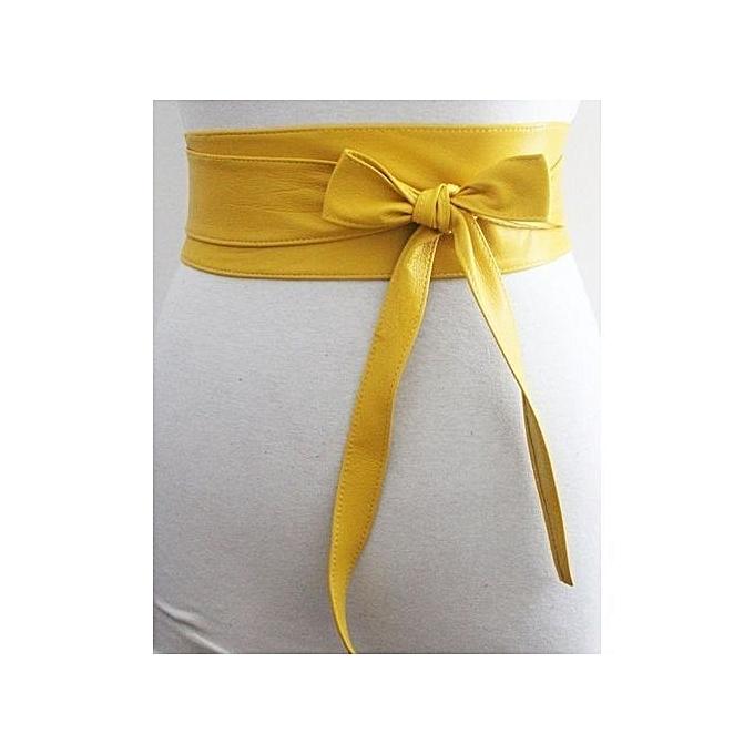 8ef85f8a4f7 Generic Soft Leather Obi Belt - Mustard   Best Price