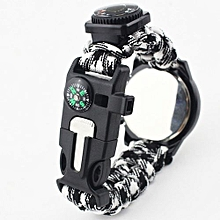 AI Outdoor Survival Watch Bracelet Paracord Compass Flint Fire Starter Whistle New