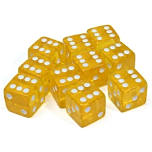 10pcs Six Sided D6 Dice RPG Transparent Acrylic Dice For Guessing Gaming 16mm